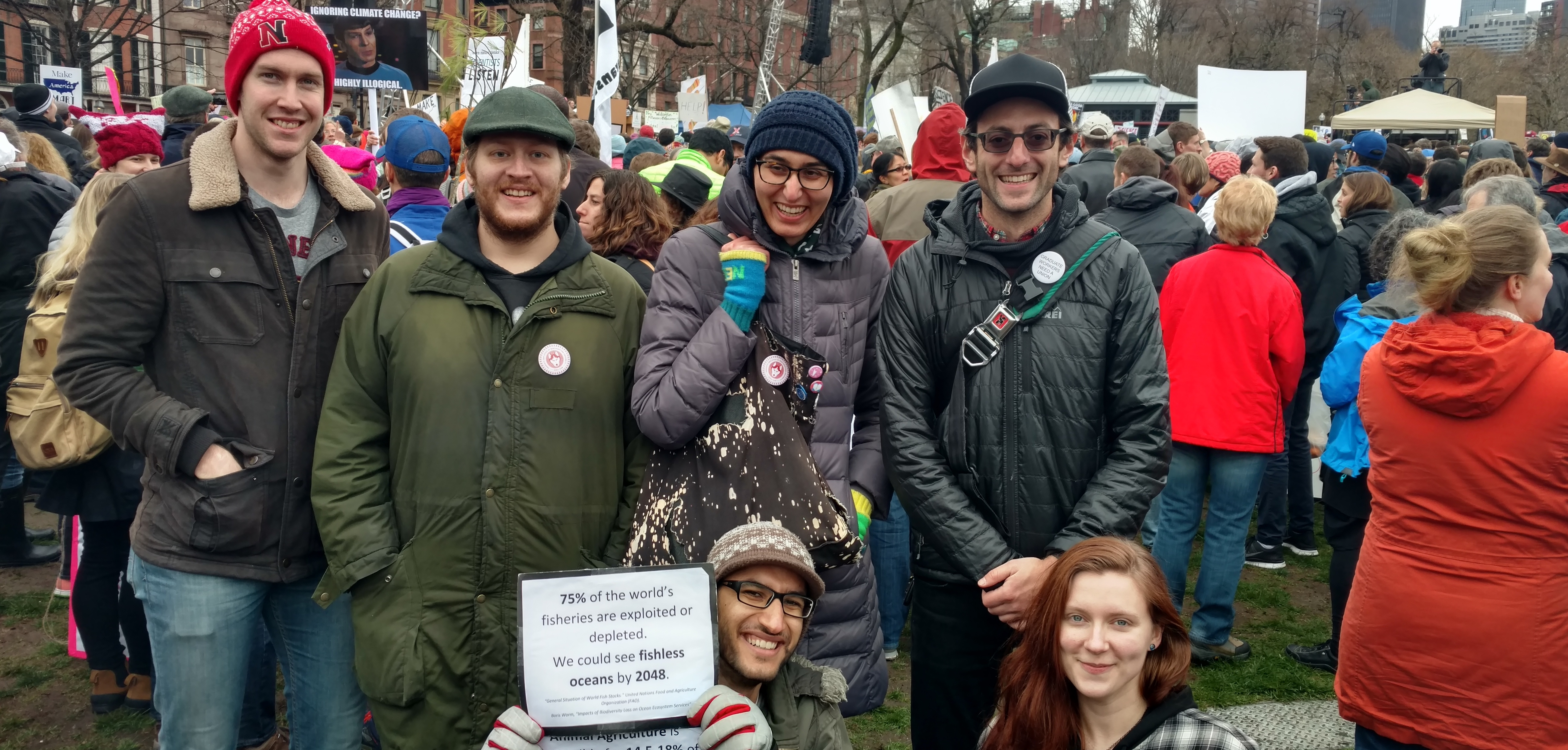 GENU-UAW Members at the Boston March for Science